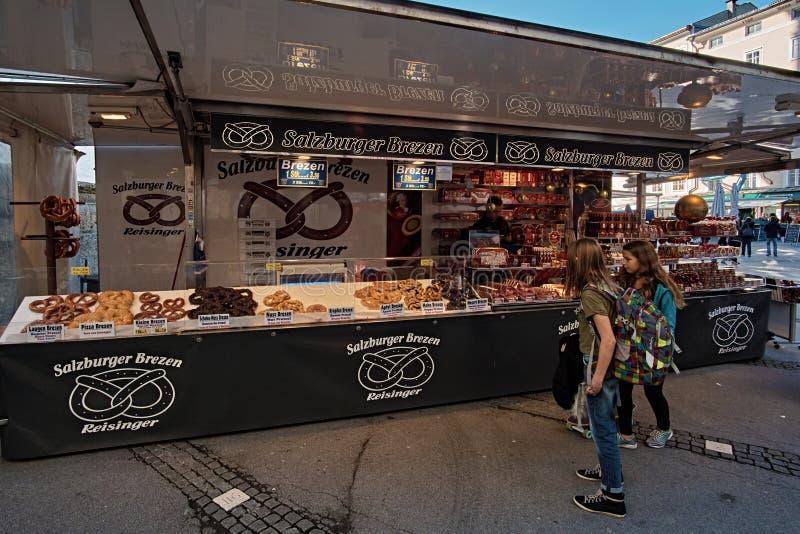 Salzburg, Salzburger Land, Austria - September 11, 2018: Salzburger Brezen market place at the traditional farmer market royalty free stock photo