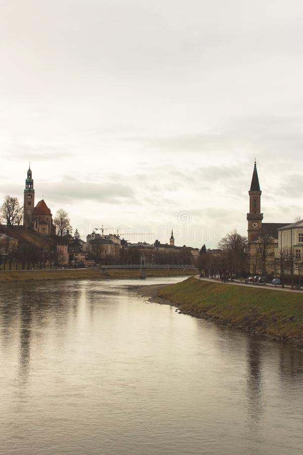 Salzburg Salzch flod royaltyfria bilder