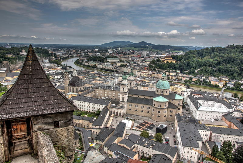 Salzburg seen from castle. View of the city of Salzburg (Austria) from the castle royalty free stock image
