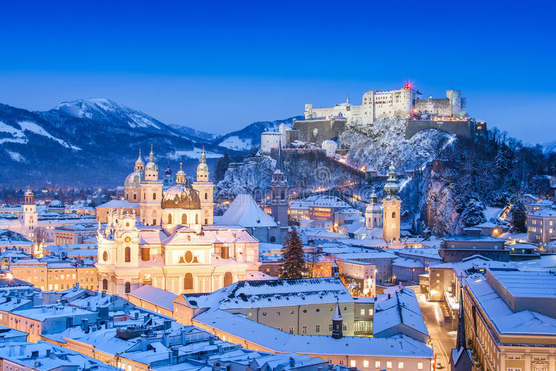 Download Salzburg Skyline In Winter As Seen From Moenchsberg, Salzburger Land, Austria Stock Image - Image of austrian, architecture: 30493055