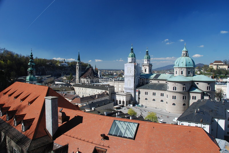 Salzburg Town. View from the castle of Salzburg with cathedral - Austria 2007 royalty free stock image