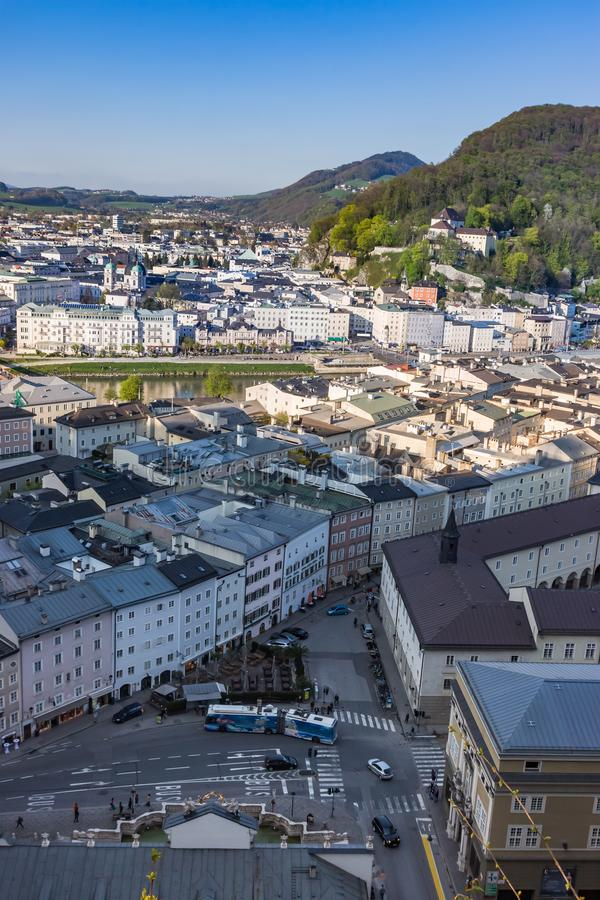Salzburg Village Rooftops on Hills Background stock images