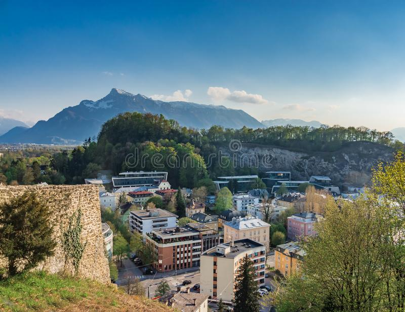 Valley Village with Mountain Background stock photography