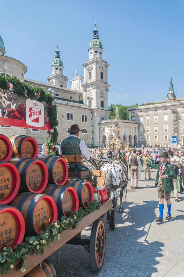 Salzburger Dult Festzug at Salzburg, Austria. SALZBURG, AUSTRIA - MAY 26: Salzburger Dult Festzug parade celebration on May 26, 2012 in Salzburg, Austria royalty free stock photo