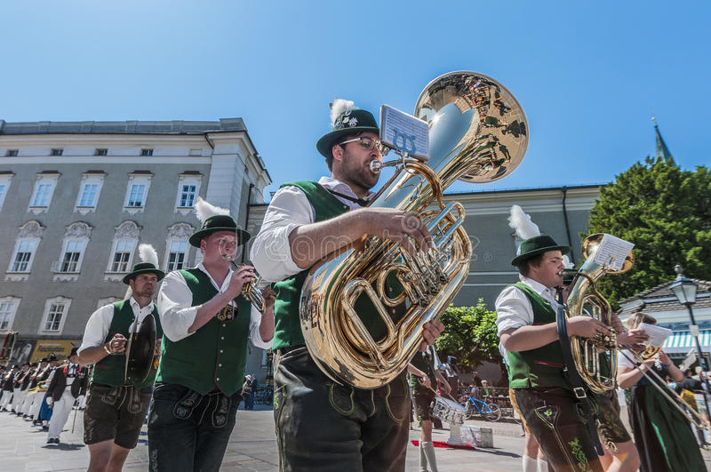 Salzburger Dult Festzug at Salzburg, Austria. SALZBURG, AUSTRIA - MAY 26: Salzburger Dult Festzug parade celebration on May 26, 2012 in Salzburg, Austria stock image