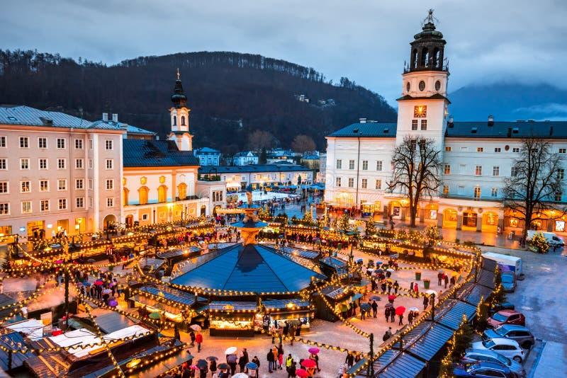 Salzburgo, Austria - Mercado de Navidad foto de archivo libre de regalías