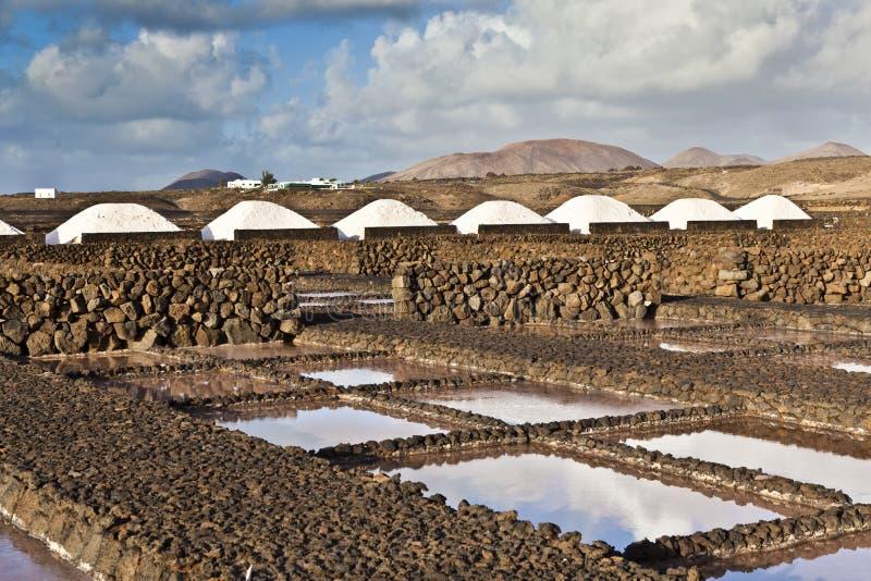 Salzen Sie die Raffinerie, die von Janubio, Lanzarote salzig ist lizenzfreie stockbilder