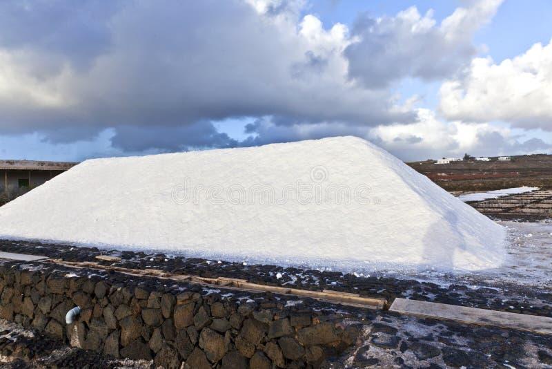 Salzen Sie die Raffinerie, die von Janubio, Lanzarote salzig ist lizenzfreies stockfoto
