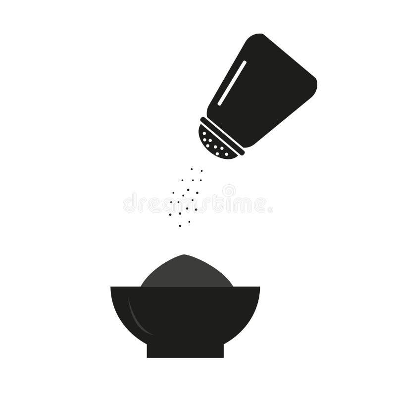 Salzen Sie Flasche, flache Designvektor-Vorratillustration stockbild