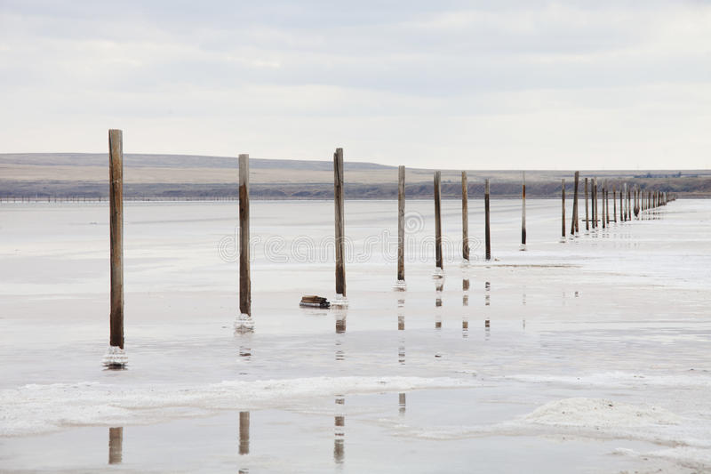 Salzig u. x28; Salz lake& x29; Baskunchak-Landschaft stockfoto
