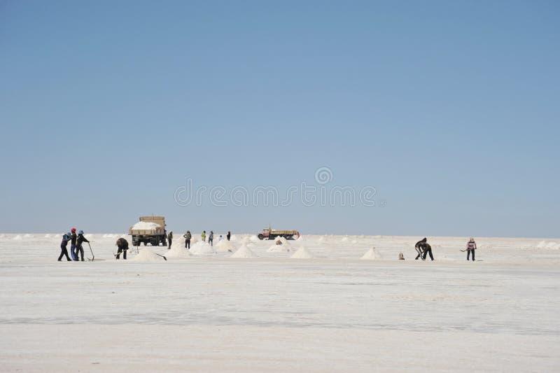Salzproduktion auf den Uyuni-Salzebenen stockfotografie