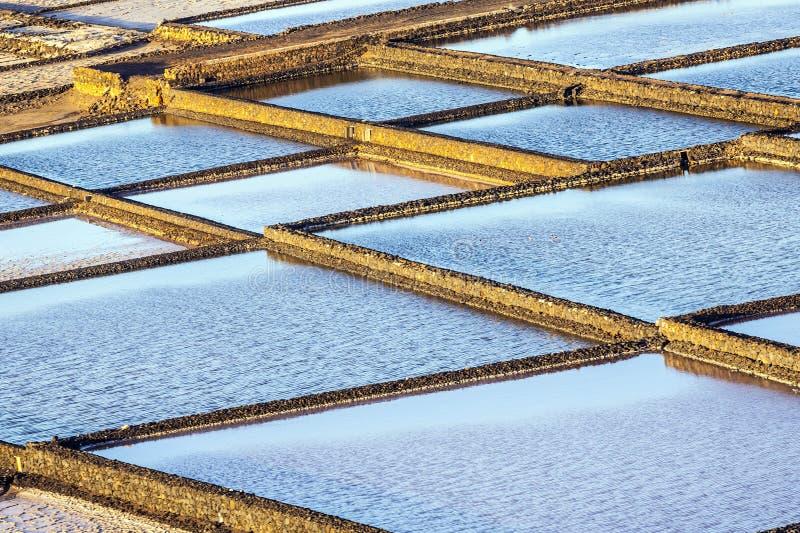 Salzraffinerie, salzig von Janubio, Lanzarote lizenzfreies stockfoto