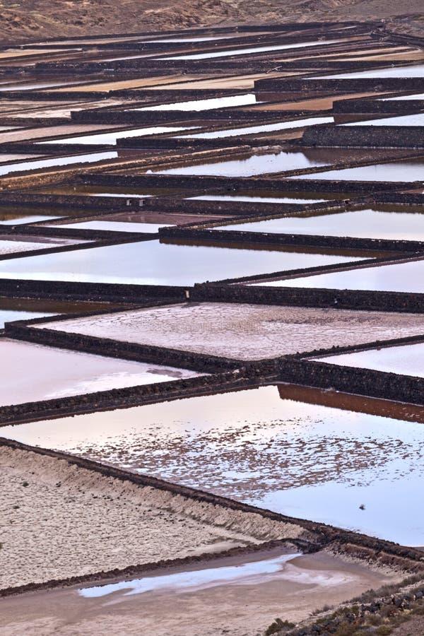 Salzraffinerie, salzig von Janubio, Lanzarote lizenzfreie stockfotos