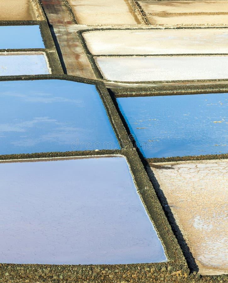 Salzraffinerie, salzig von Janubio, Lanzarote stockbilder