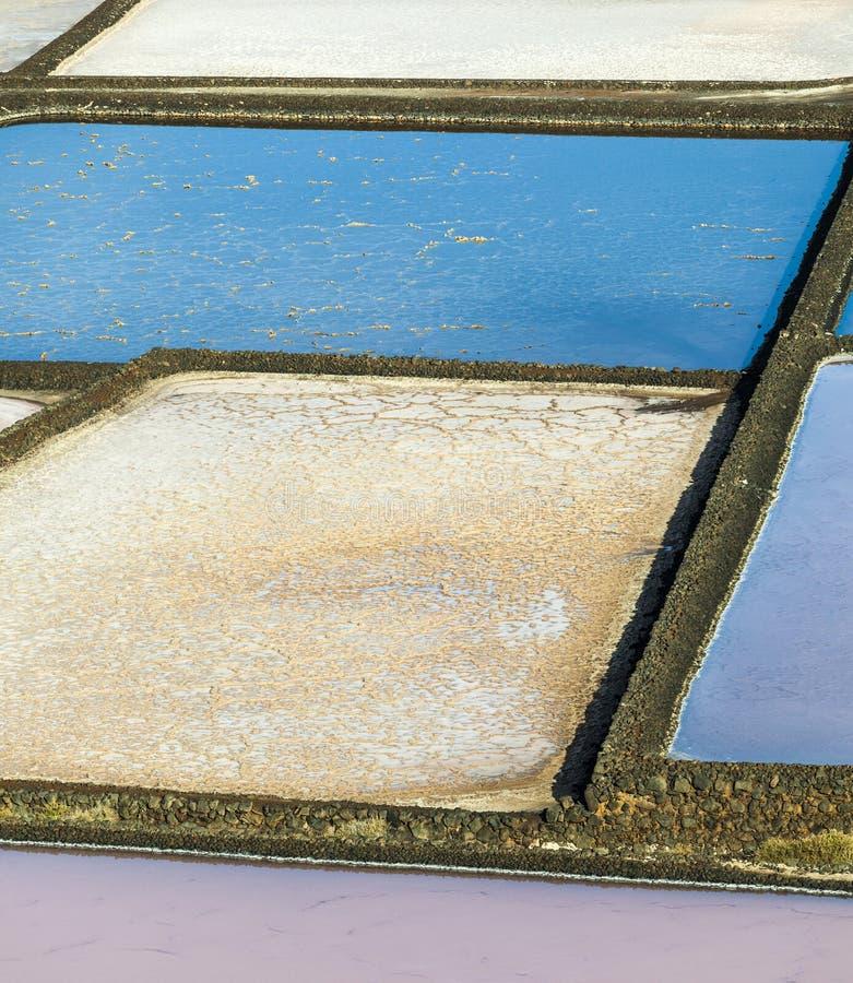 Salzraffinerie, salzig von Janubio, Lanzarote lizenzfreie stockbilder