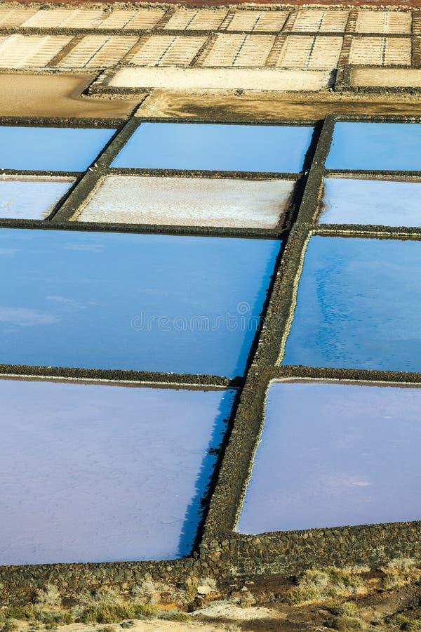 Salzraffinerie, salzig von Janubio, Lanzarote stockbild