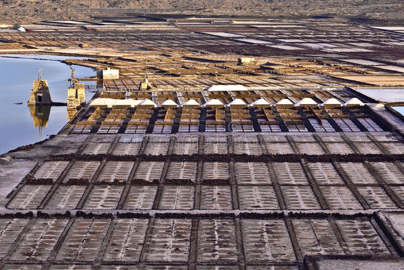 Salzraffinerie, salzig von Janubio, Lanzarote lizenzfreies stockbild