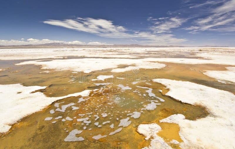 Salzwasserbrunnen auf Uyuni salzig, Salar stockfotos