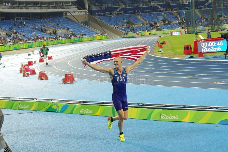 Sam Kendricks in Rio 2016 Olympische Spelen royalty-vrije stock foto
