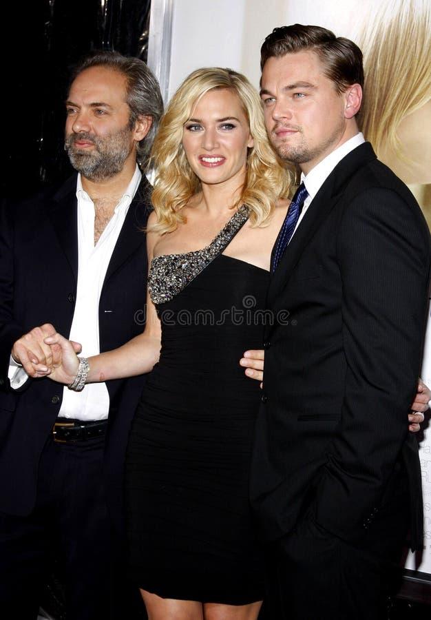 Sam Mendes, Kate Winslet und Leonardo DiCaprio lizenzfreies stockbild