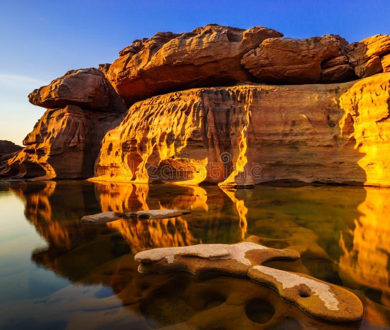 Sam Pan Bok Grand Canyon, de provincie van Ubon Ratchathani, Thailand stock foto's