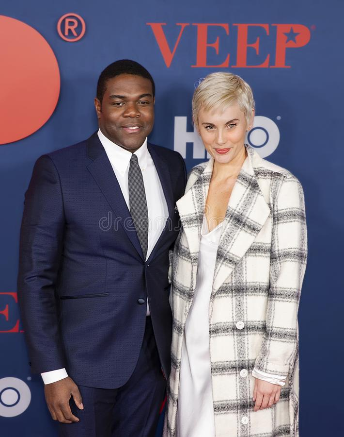 Sam Richardson and Nicole Boyd at Final Season Premiere of VEEP. Actors Sam Richardson and Nicole Boyd arrive for the red carpet premiere of season 7, the royalty free stock images