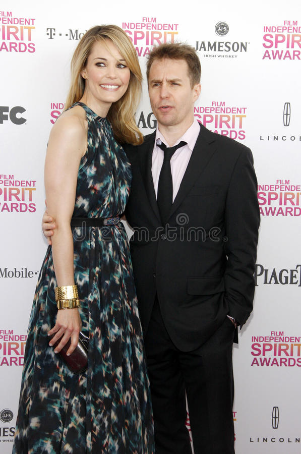 Sam Rockwell and Leslie Bibb. At the 2013 Film Independent Spirit Awards held at the Santa Monica Beach in Los Angeles, United States, 230213 stock photography