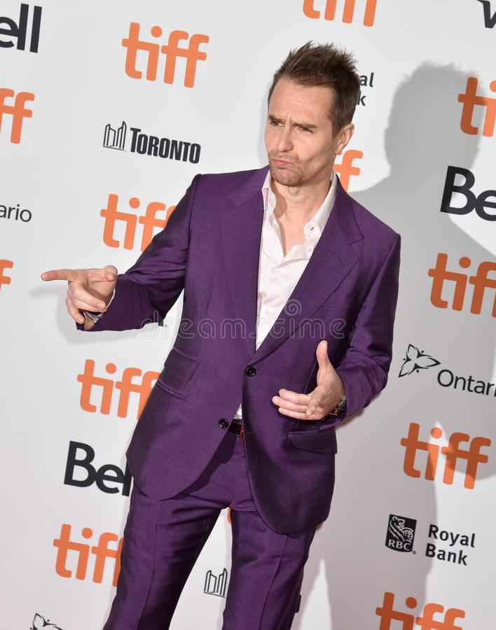 Sam Rockwell on red carpet for Jojo Rabbit movie premiere at TIFF. Actor Sam Rockwell and his wife on red carpet for Jojo Rabbit movie premiere at TIFF . movie stock image