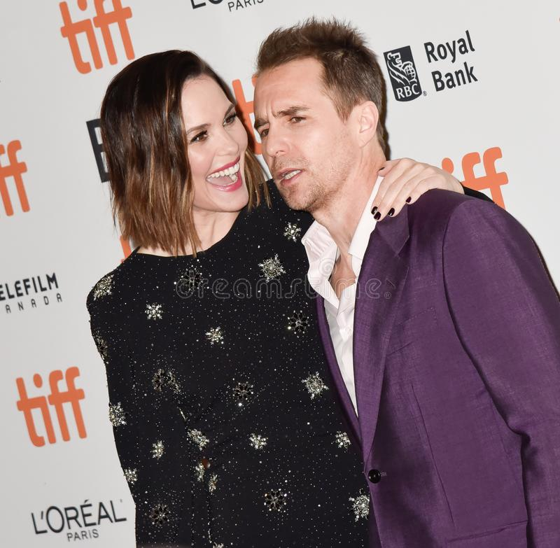 Sam Rockwell on red carpet for Jojo Rabbit movie premiere at TIFF. Actor Sam Rockwell and his wife on red carpet for Jojo Rabbit movie premiere at TIFF . movie stock photography