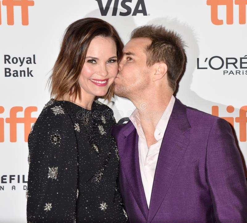 Sam Rockwell on red carpet for Jojo Rabbit movie premiere at TIFF. Sam Rockwell and his wife on red carpet for Jojo Rabbit movie premiere at TIFF . beautiful stock photo