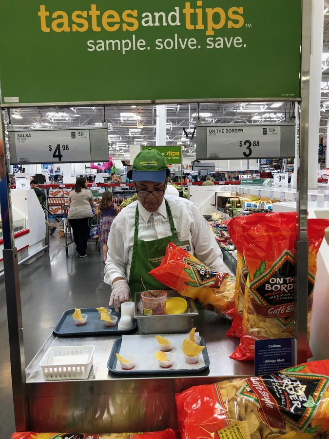 Sam's Club. Store located in Gilbert Arizona. With vendors giving out free samples to customers royalty free stock image