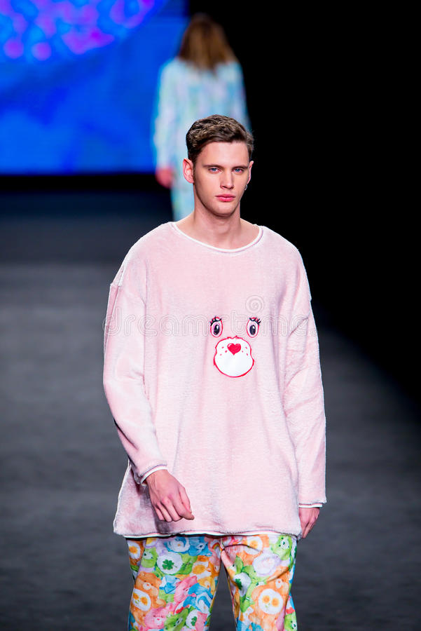Sam Steele (model) walks the runway for the Krizia Robustella collection stock photo