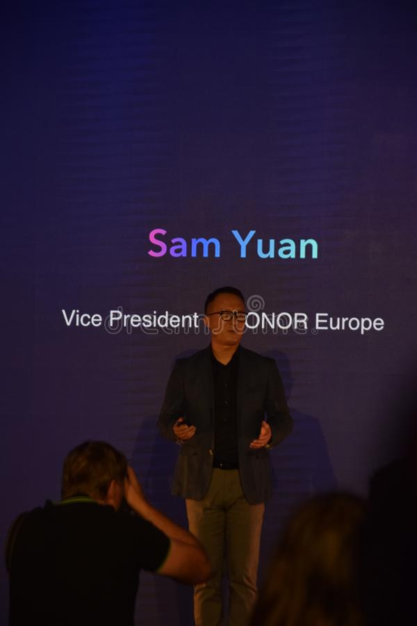 Sam Yuan, vice president of Honor on a press conference stock photography