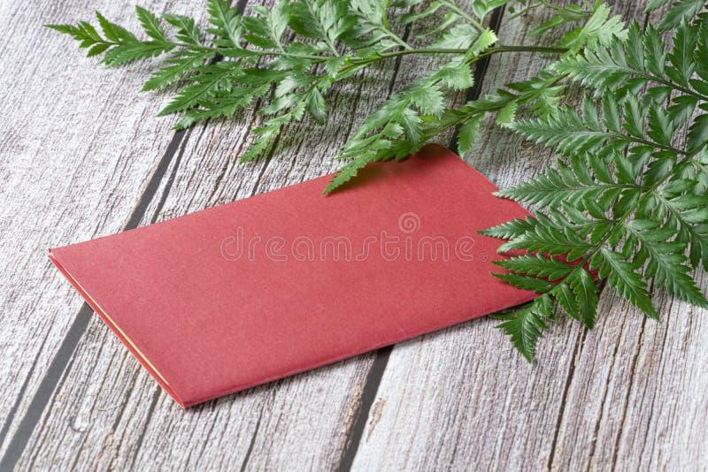 Samambaias frescas da floresta úmida e um cartão vermelho fotografia de stock