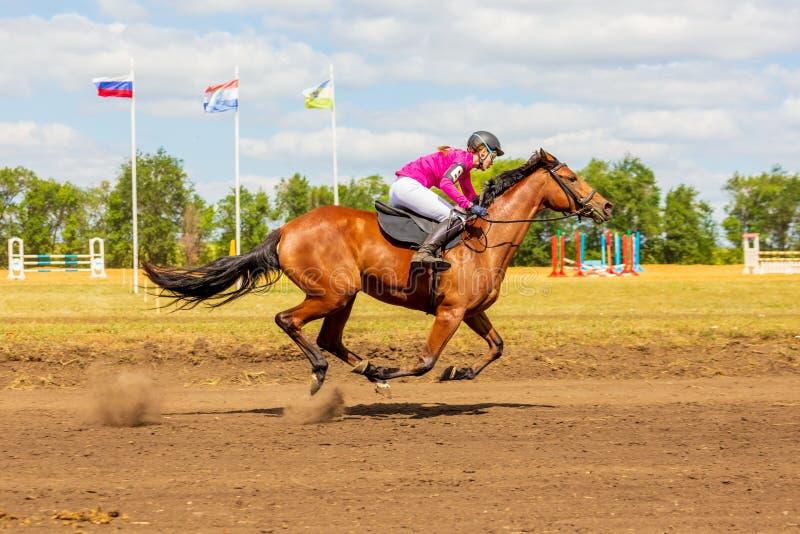 Samara, agosto de 2018: Una muchacha participa a caballo en carrera de caballos foto de archivo libre de regalías
