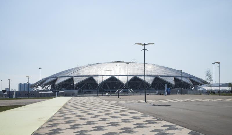 Samara Arena fotbollsarena Samara - staden som är värd den FIFA världscupen i Ryssland i 2018 royaltyfri fotografi