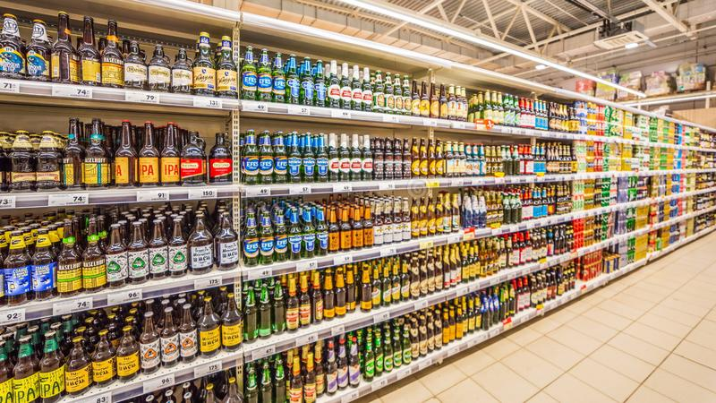 Samara, August, 2018: Different beers on the shop window royalty free stock image