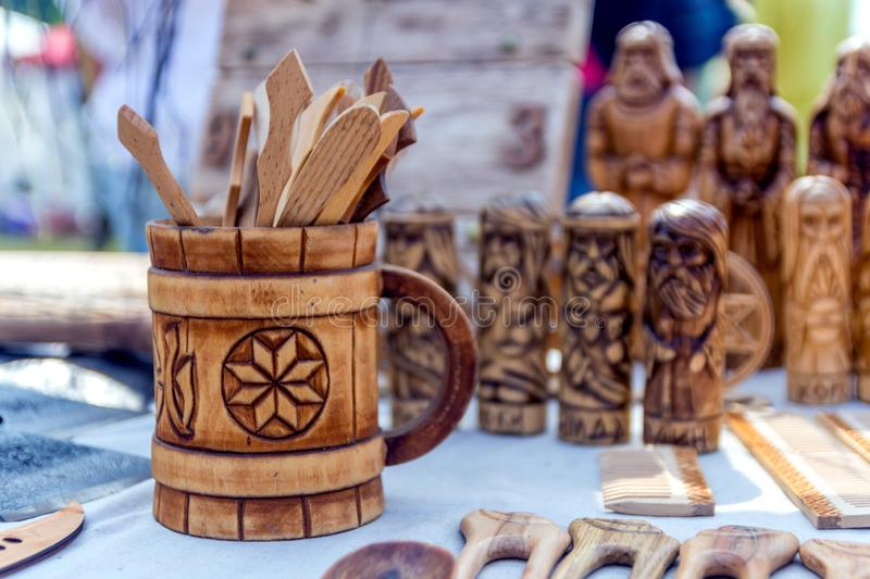 Samara, July, 2018: Sale of handmade wooden souvenirs royalty free stock photos