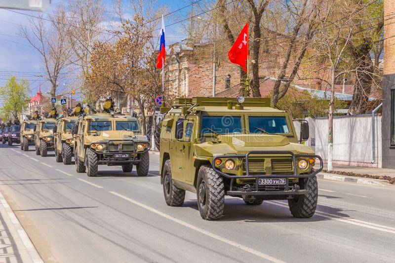 Samara, May 2018: a column of army special armored vehicles `Tiger` in the city. Russia, Samara, May 2018: a column of army special armored vehicles `Tiger` in royalty free stock photo