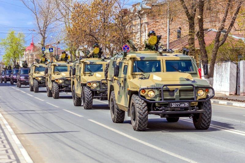 Samara, May 2018: a column of army special armored vehicles `Tiger` in the city. Russia, Samara, May 2018: a column of army special armored vehicles `Tiger` in stock image