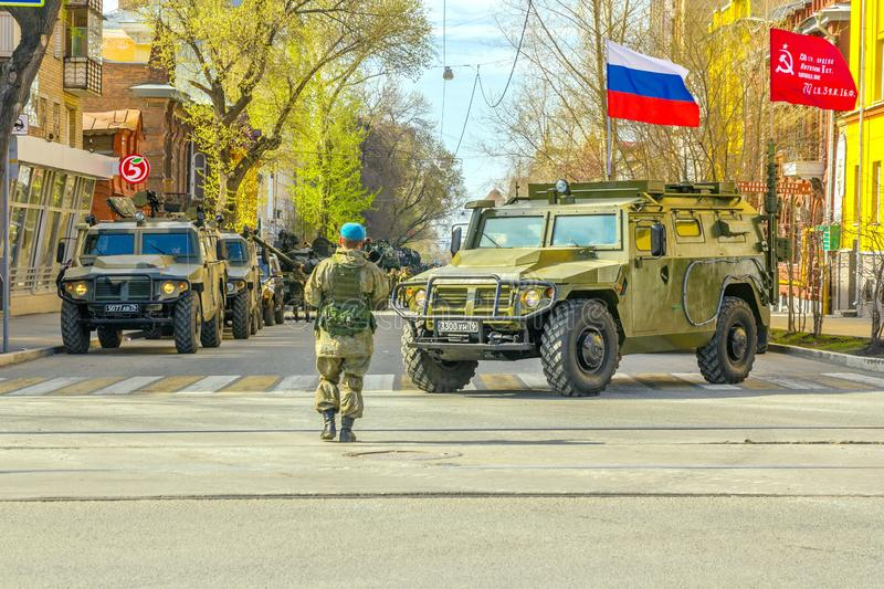 Samara, May 2018: a column of army special armored vehicles `Tiger` in the city. Russia, Samara, May 2018: a column of army special armored vehicles `Tiger` in stock photography