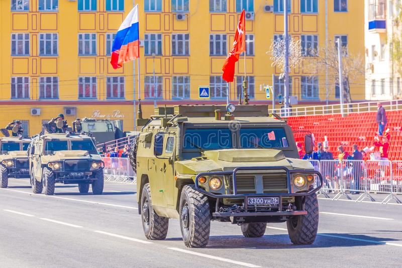 Samara, May 2018: a column of army special armored vehicles `Tiger` in the city. Spring sunny day. royalty free stock photo