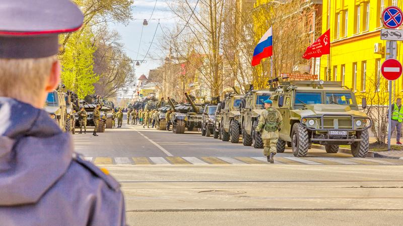 Samara, May 2018: a column of special military equipment on the streets of a sunny day stock image