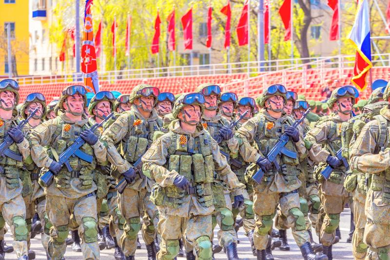 Samara May 2018: Soldiers with automatic weapons. Spring sunny day. stock image