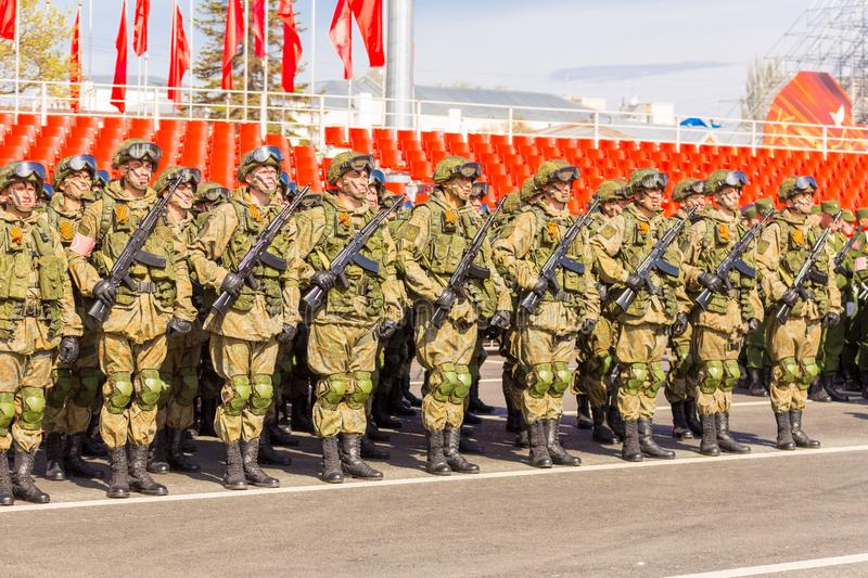 Samara May 2018: Soldiers with automatic weapons. Spring sunny day. stock photography