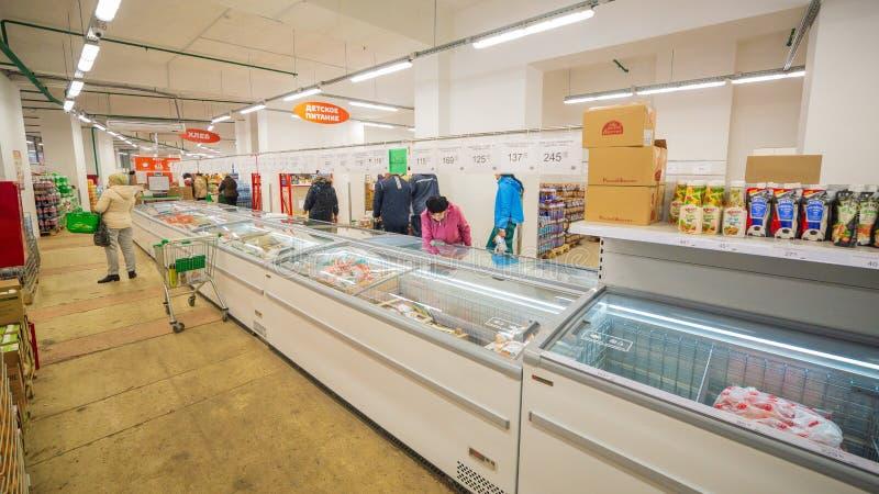 Samara, November 2018: interior of a grocery store with shop windows and freezers. Russia, Samara, November 2018: interior of a grocery store with shop windows royalty free stock image