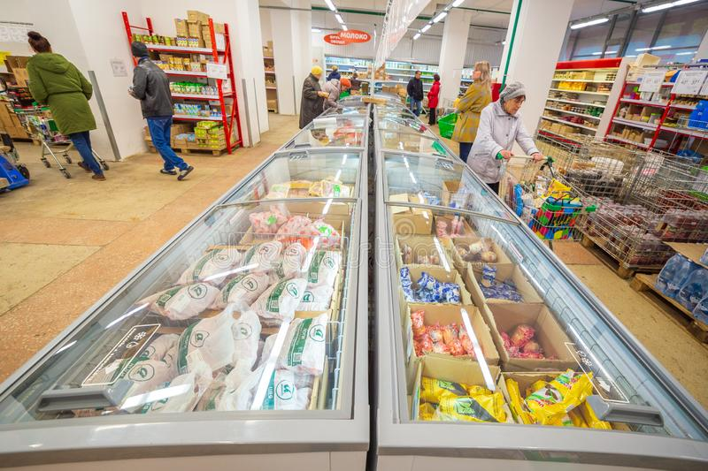 Samara, November 2018: interior of a grocery store with shop windows and freezers. Russia, Samara, November 2018: interior of a grocery store with shop windows royalty free stock photography