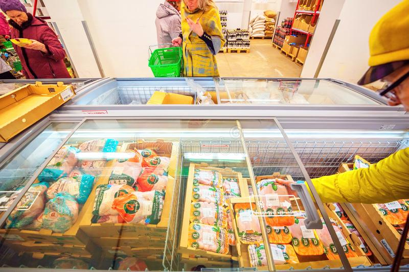 Samara, November 2018: interior of a grocery store with shop windows and freezers. Russia, Samara, November 2018: interior of a grocery store with shop windows royalty free stock images