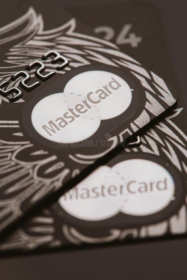 Samara, Rússia 25 de julho 2016: Cartão de crédito do privilégio de MasterCard imagem de stock royalty free