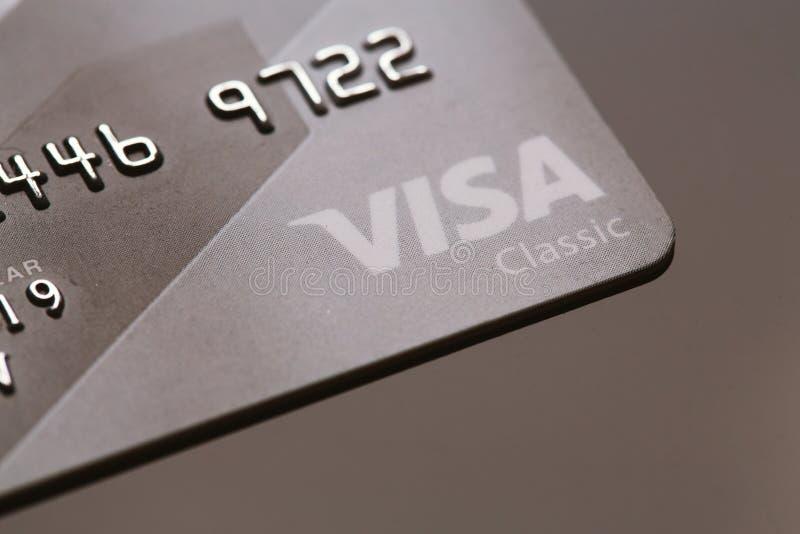 Samara, Rússia 25 de julho 2016: Close-up clássico do cartão de crédito do visto fotos de stock